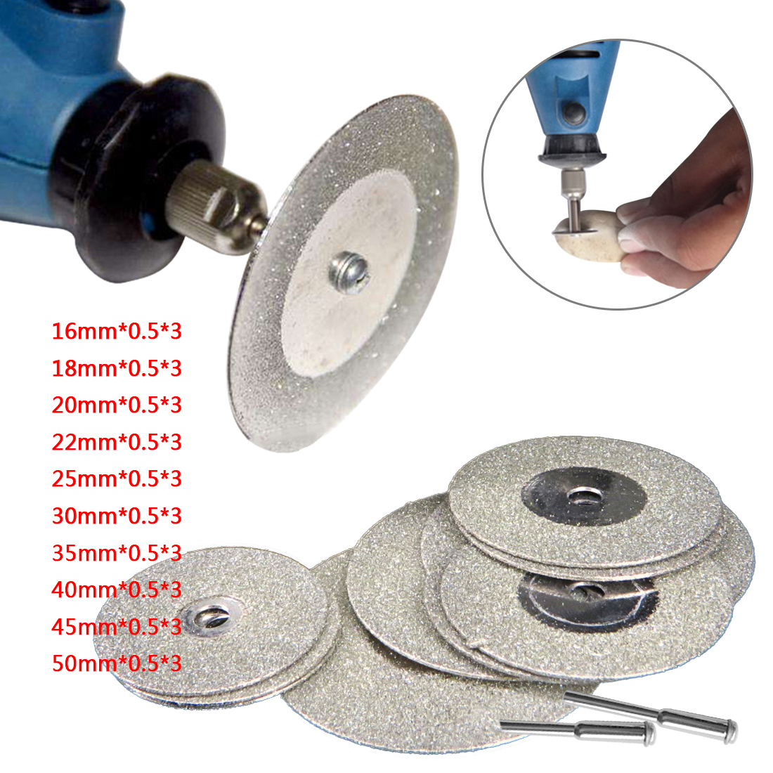цена на 10pcs 16-50MM Diamond Grinding Cutting Wheel Disc Sharpener Abrasive Disks with 2X Connecting Shank for Dremel Rotary Tools