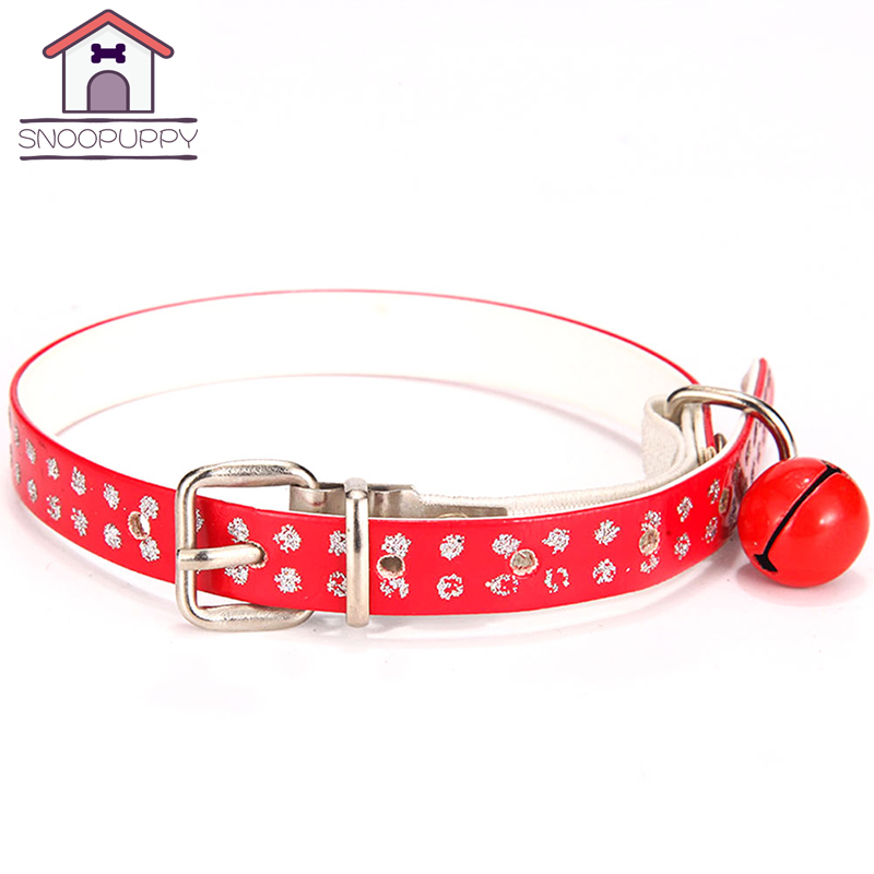 Cat Collars Lovely PU Leather Pet Dog Basic Collar With Bells Dog Cat Neck Acessories Adjustable All Seasons Pet Collars JW0006