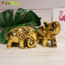 Bronze water absorption elephant ornaments a pair of lucky Feng Shui trumpet living room office porch decoration crafts