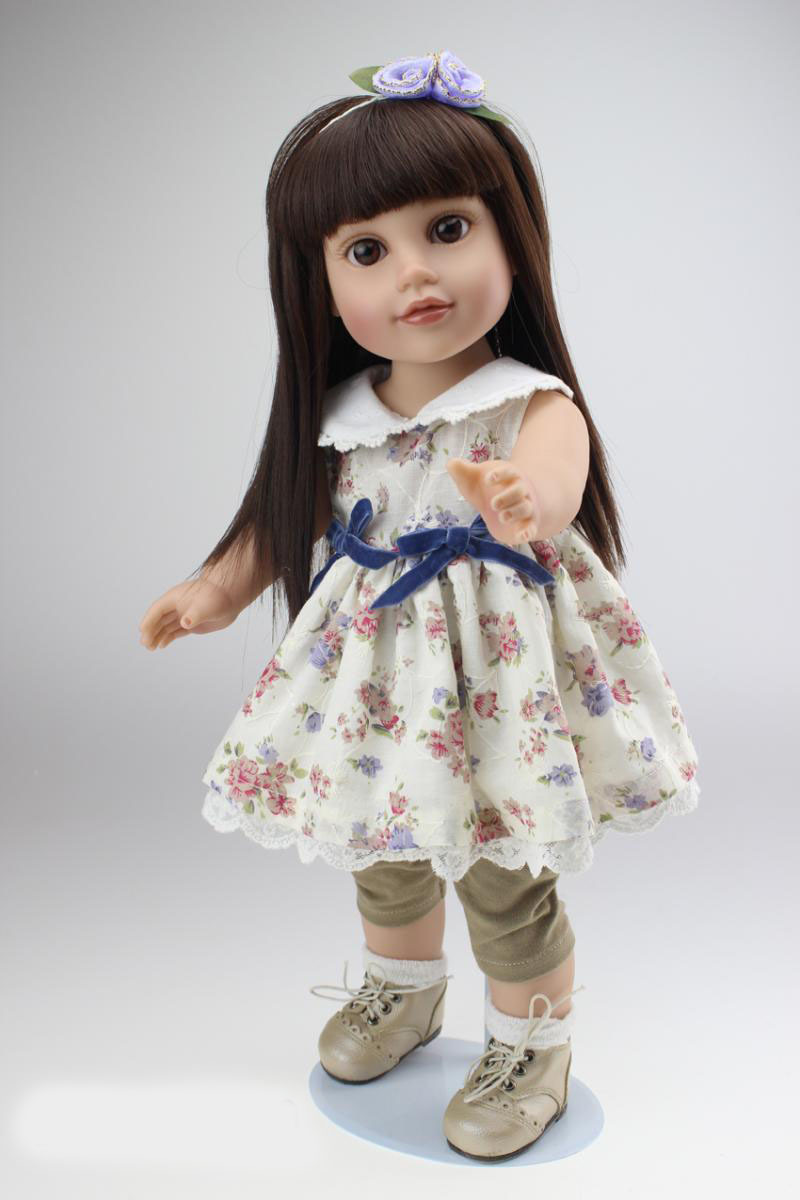 European style 18 inch american girl doll Vinyl lifelike pricess kids birthday gifts baby doll toys play house girl brinquedos lifelike american 18 inches girl doll prices toy for children vinyl princess doll toys girl newest design