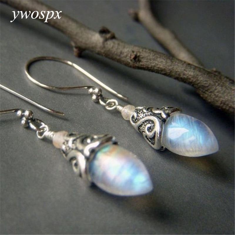 Ywospx brincos de pendurar femininos, vintage, imitação de pedra-choque, prata, joias boêmia, brincos de noivado y40