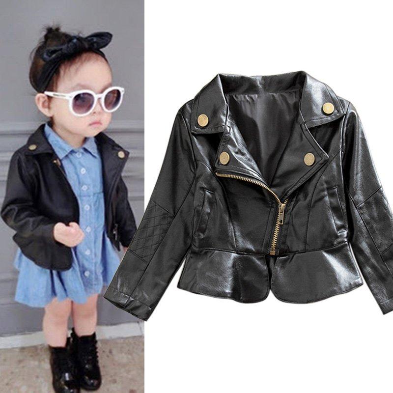 Fashion Style Kids Baby Boys Girls Black Toddlers Warm Jacket Faux Leather Children Kids Outwear Coat Tops