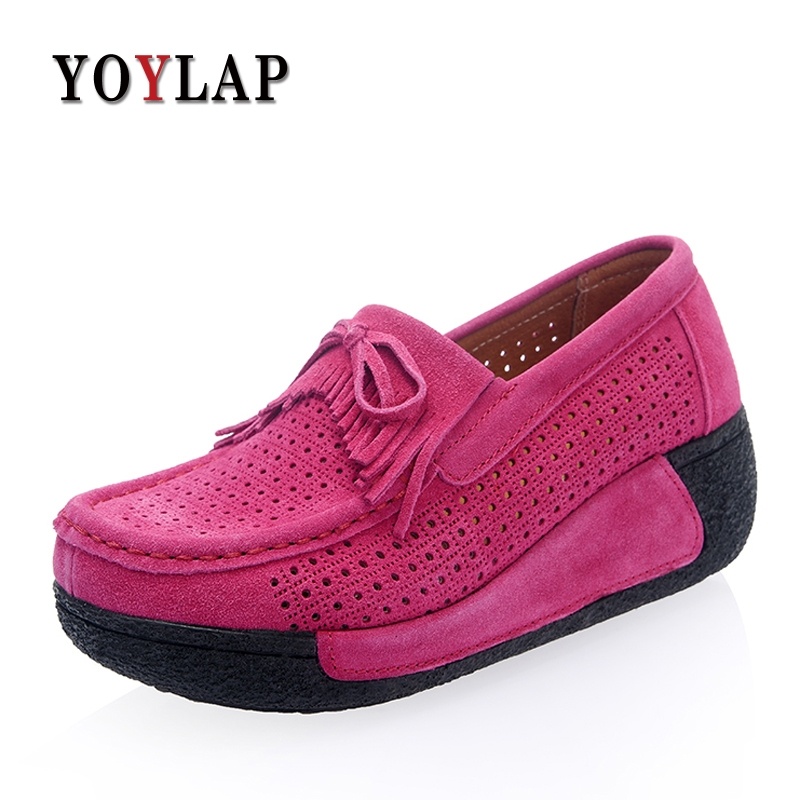 YOYLAP Brand 2018 Summer women flats shoes women tassel platform shoes leather suede casual slip on flats Creepers footwear