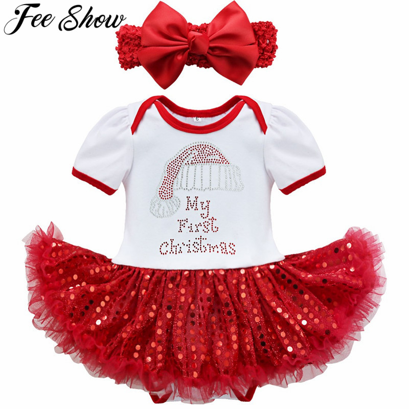 2Pcs Baby Girls New Years Family Christmas   Romper  +Headband baby girl winter clothes toddler christmas outfits baby santa suits