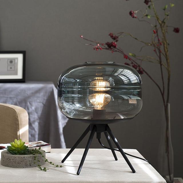 American Minimalist Creative Glass Table Lamp Modern Bedroom Livingroom Study Coffee Shop Designer Decoration Lamp Free Shipping