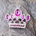 Free Shipping Newest 47*50MM 10Pcs/Lot Silver Zinc Alloy Mei Red Crown Rhinestone Pendant For Chunky Necklace Making