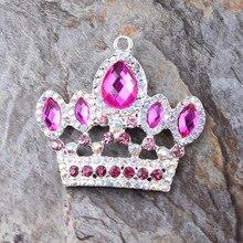 Envío libre más nuevo 47 * 50 MM 10 unids/lote plata de aleación de Zinc Mei rojo del colgante del Rhinestone corona para el collar fornido que hace