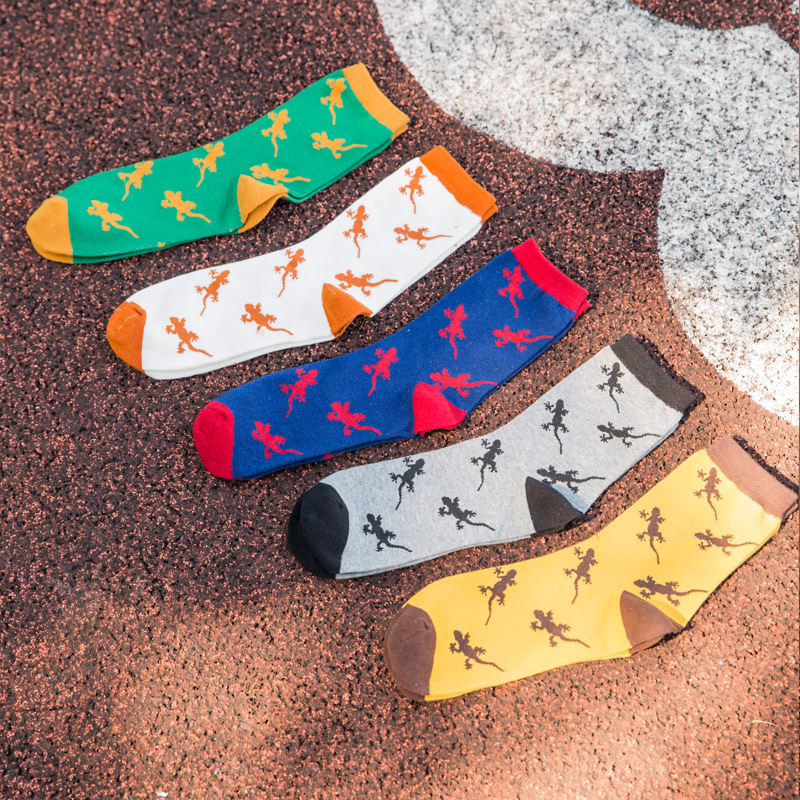 2018 New Spring And Autumn Mens Casual Gecko Animal Print Short Socks 186272