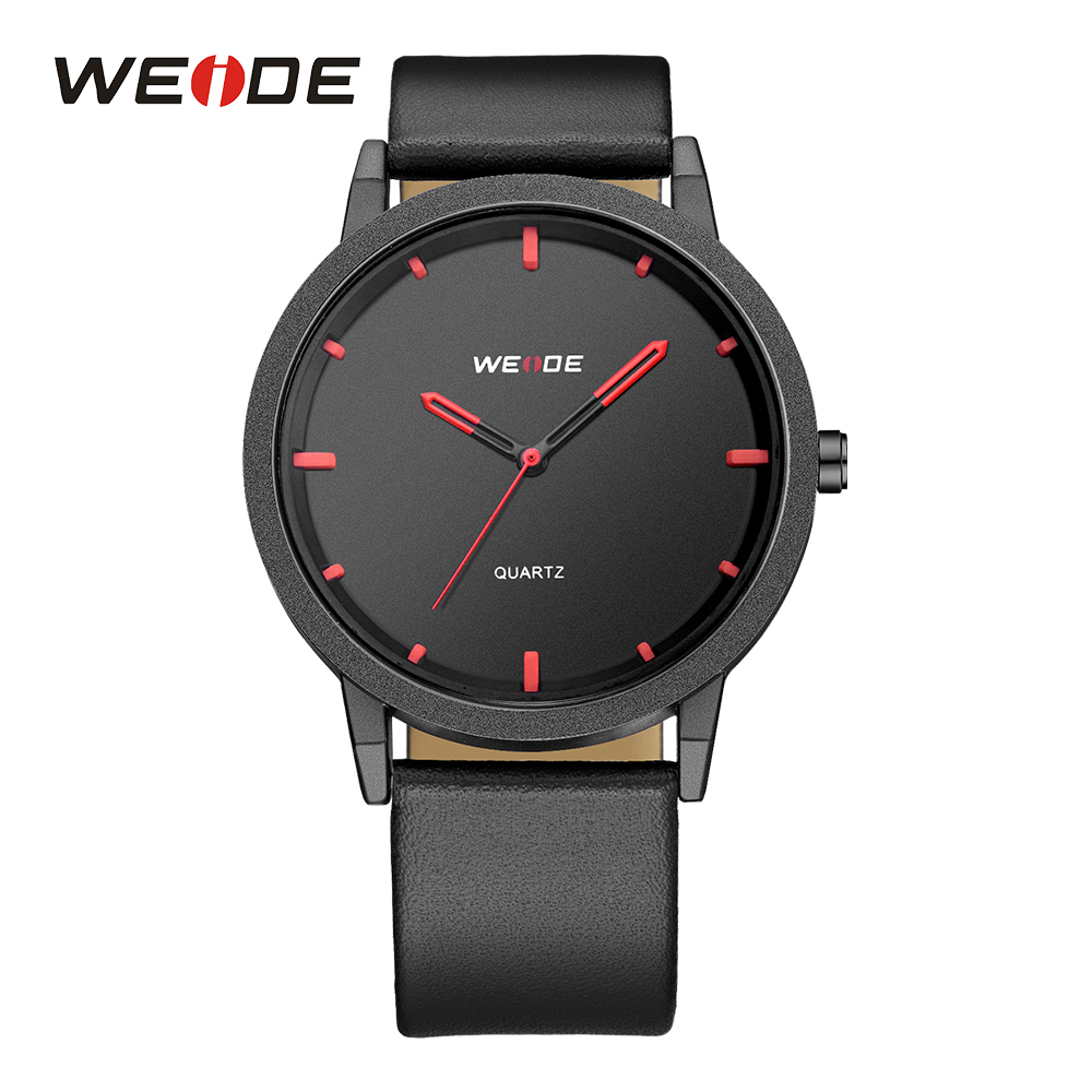 WEIDE Mens Sport Watch Ultra Thin Quartz Movement Analog Black Strap Band Buckle Male Clocks Outdoor Military Red Wrist Watches weide new watch analog digital display outdoor men sport quartz movement military watch back light stainless steel band 6 colors