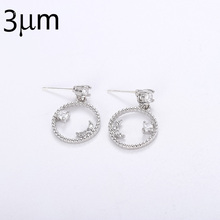 3UMeter Fashion Jewelry Earring Silver 925 Zircon Moon Star Earrings for Women 2019 Trendy