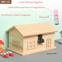 Locked house piggy bank, creative solid wooden handmade DIY children's coin box, large capacity banknote and coin piggy bank