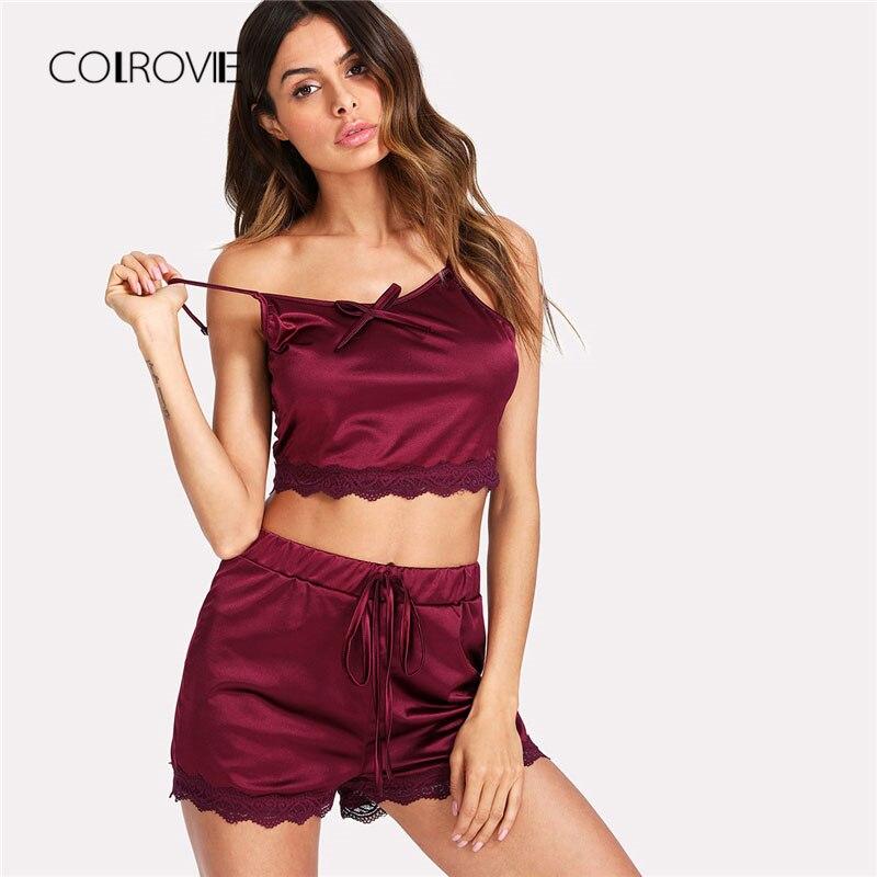 COLROVIE Burgundy Lace Trim Satin Night Cami And Shorts PJ Set 2019 Sleeveless Sexy Pajama Set Women Elegant Sleepwear Set
