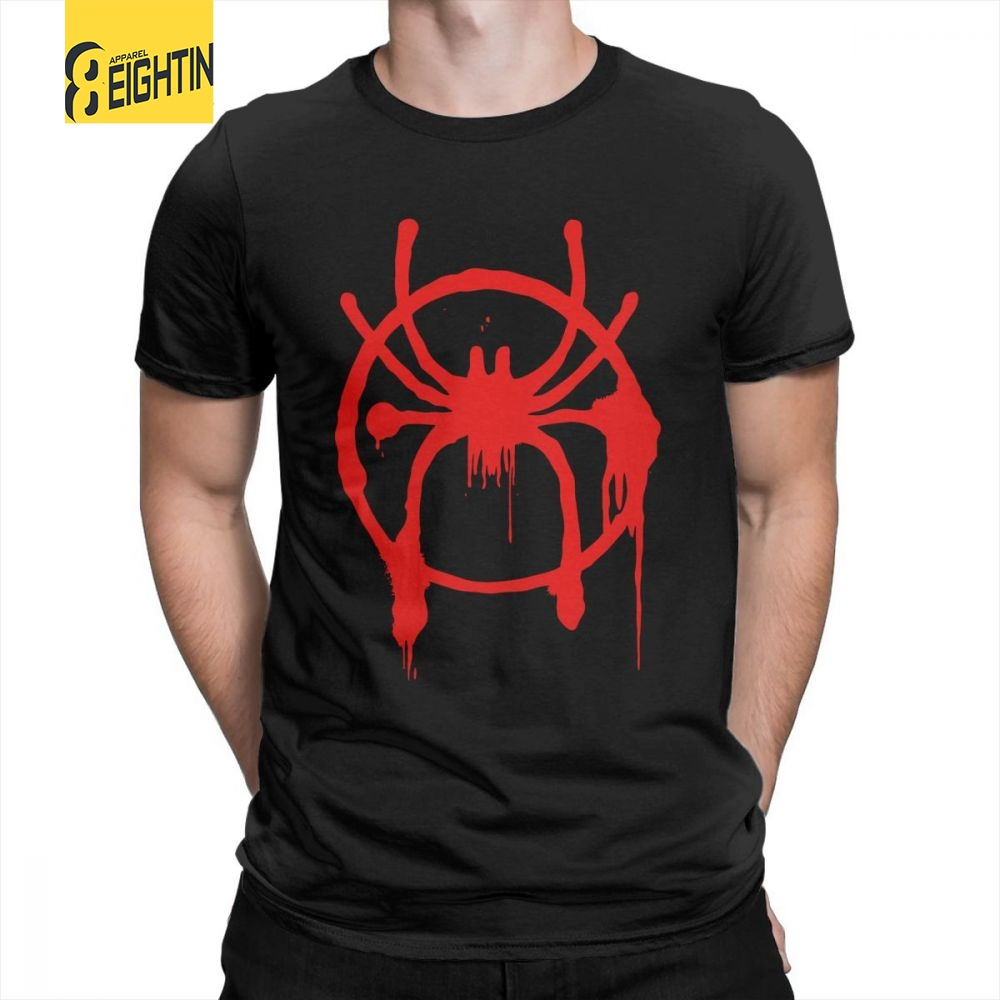 Man Spiderman   T  -  Shirt   Novelty Round Neck Short Sleeved Clothes Purified Cotton Tees New   T     Shirts