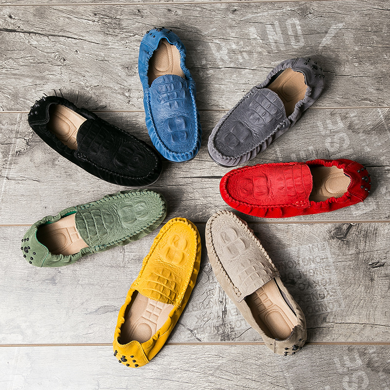 Summer Autumn Men's Pigskin Leather Casual Shoes Comfortable Soft Loafers Shoes For Men Driving Car Walking Work Colorful Shoe