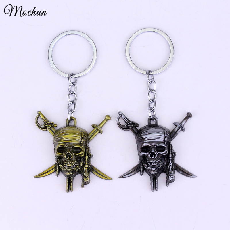 MQCHUN Factory Direct Sale Pirates of the Caribbean Keychain Captain Jack Sparrow Mask Skull and Crossbones Alloy Key Chain Ring