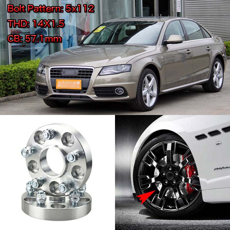 1 Pair of Black Hubcentric 15mm Alloy Wheel Spacers for Audi S5 RS5 Quattro