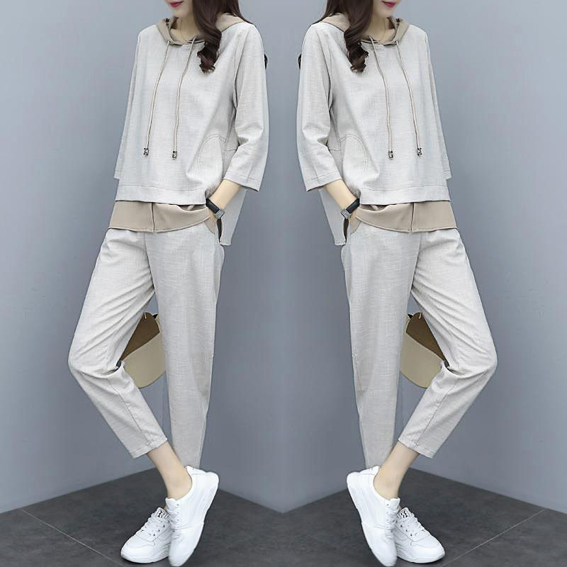 2 Piece Set 2019 Spring New Casual Sports Suit Female Fashion Korean Version Of The Loose Large Size Temperament Pants Of Tide