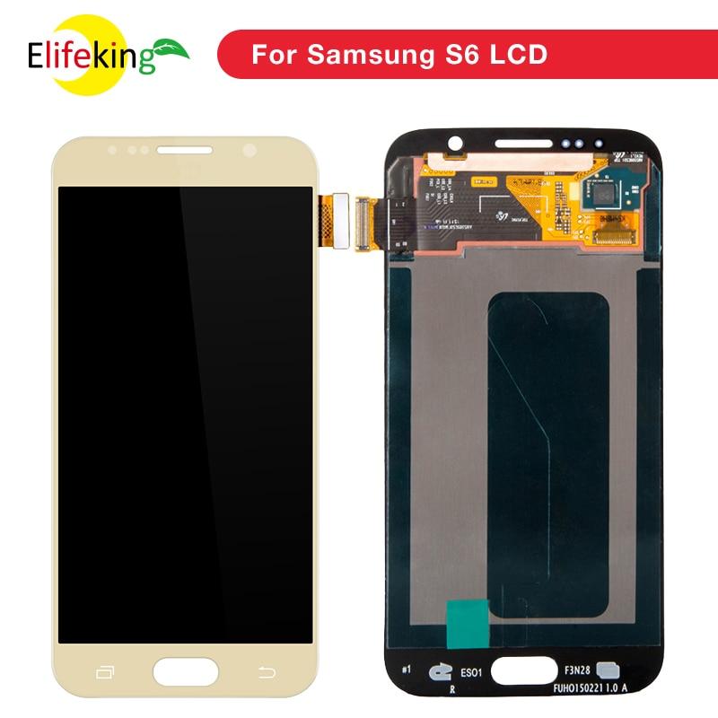 5 pcs/lot D'ORIGINE 5.1 ''SUPER AMOLED LCD de Remplacement avec Cadre pour SAMSUNG Galaxy S6 Affichage G920 G920F Tactile Écran digitizer