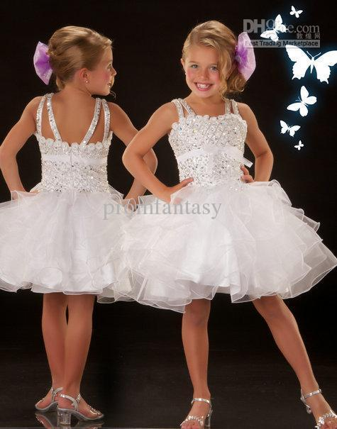 2013 White Square Neck Shiny Beaded Ruffle Organza Short Cupcake Ball Gown Toddler Pageant Dresses