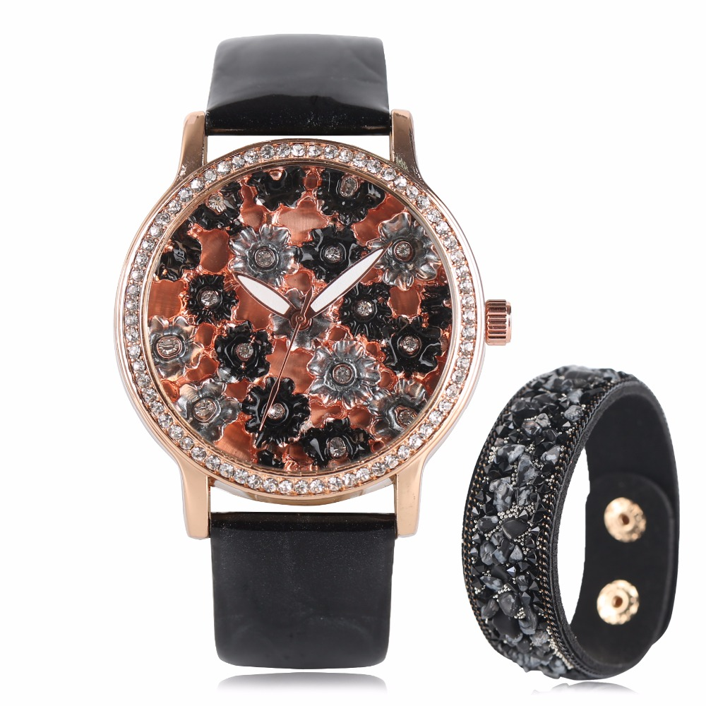 Mysterious Lady Watches Colorful Printing Flower Wrist Watch With Beautiful Bracelet Gift PU Leather Band Quartz Watch For Girl mysterious doctor who antique pocket watch with neckalce chain free shipping best gift for men women