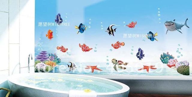 AY617 Cartoon Finding Nemo Wall Sticker Occean World Shark Fish Transparent Removable 1.3x0.6m Children Shower Toilet Room Decor