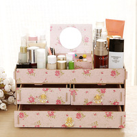 New Wood Women Jewelry Cosmetic Organizer With Mirror Earings Ornaments Storage Box 31 17 15cm L