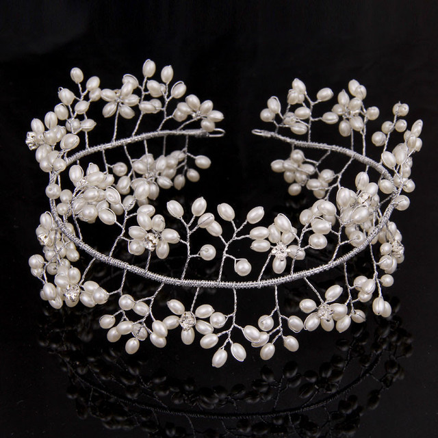 Pearl Embellished Tiara for Women