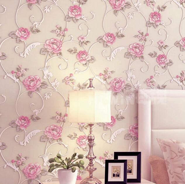 Bedroom wallpaper romantic bed wall 3d three dimensional for 3d rose wallpaper for bedroom