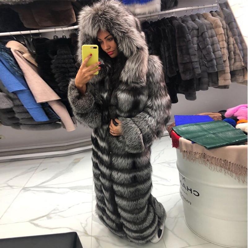 FURSARCAR lujoso sólido de plata de la piel de Fox abrigo Casual Real de piel de zorro chaqueta de piel de invierno capucha X-largo abrigos 2018 Plus tamaño