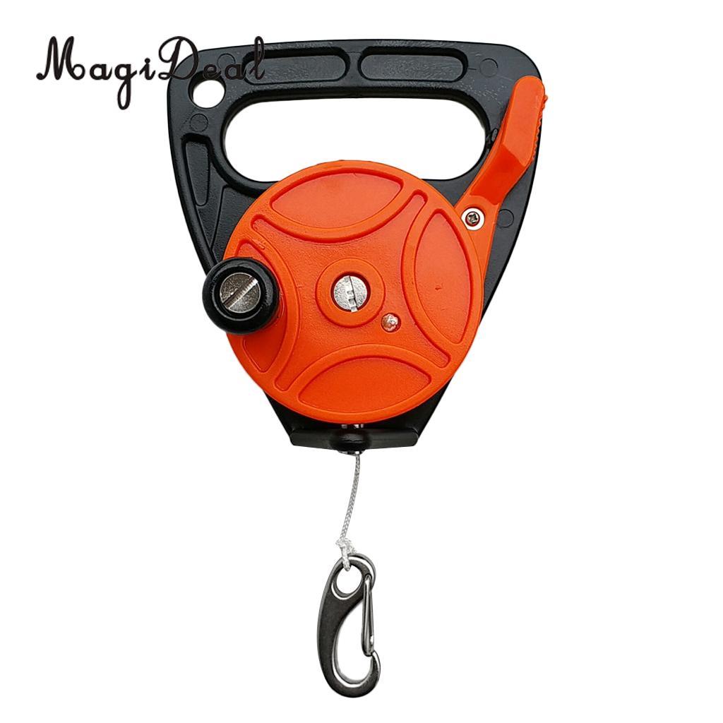 Carrete de la cueva del naufragio SMB del MagiDeal con el mango, línea de 150ft, tapón del pulgar, gancho de Clip para buceo subacuático buceador Snorkeling