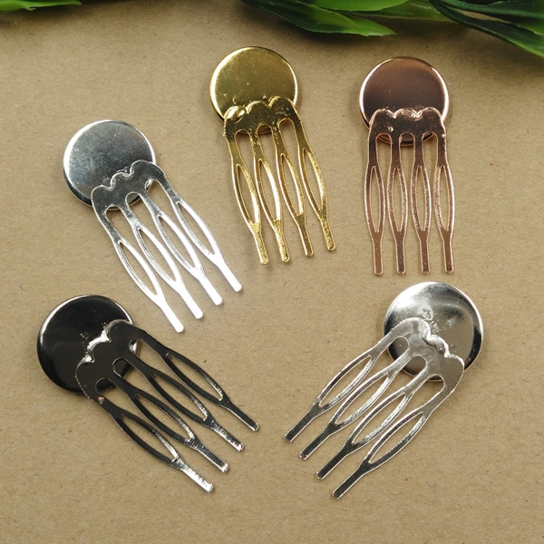 10pcs 4teeth Vintage Hair Jewelry Settings Cabochon Base Blank Bezel Trays for 20mm Cabochon Cameo DIY Hairpins Barrettes Retro basehome 20pcs stainless steel pendant settings cabochon base bezel trays blank fit 6 8 10 12 14 16 18 20mm cabochons cameo diy