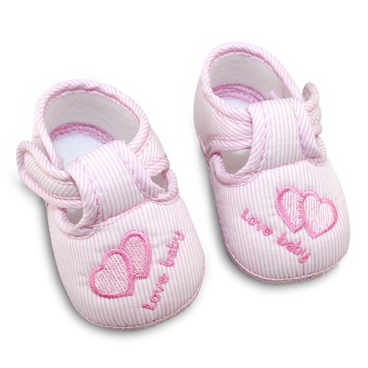 Spring Summer Autumn Baby Boys Girls Cotton Lovely Baby Shoes Solid Color Heart Pattern Comfortable Soft Sole Skid-proof 0-12M