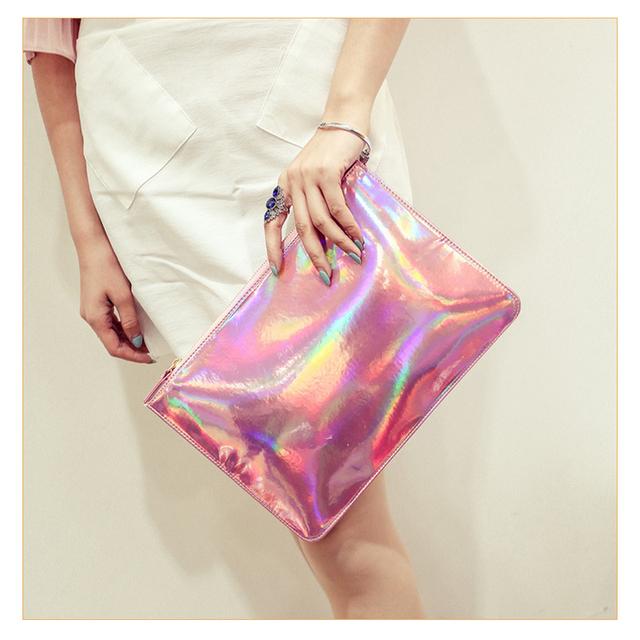 Hot Sale Women Handbags New Fashion Women Laser Color Evening Bags Hologram Envelope Silver Pink  Clutch HBF38