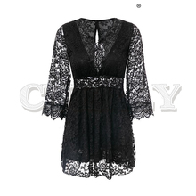 CUERLY Embroidery white lace dress women Summer sexy backless short plus size dresses Long sleeve lining spring party vestidos