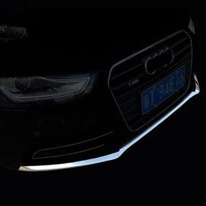 Image 1 - YAQUICKA כרום ABS רכב קדמי גריל גריל פגוש למטה רצועות כיסוי Trim סטיילינג לאאודי A4 A4L B9 2017 2018 אביזרי רכב