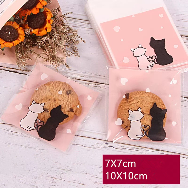 Cute Cat Self-Adhesive Plastic Bags