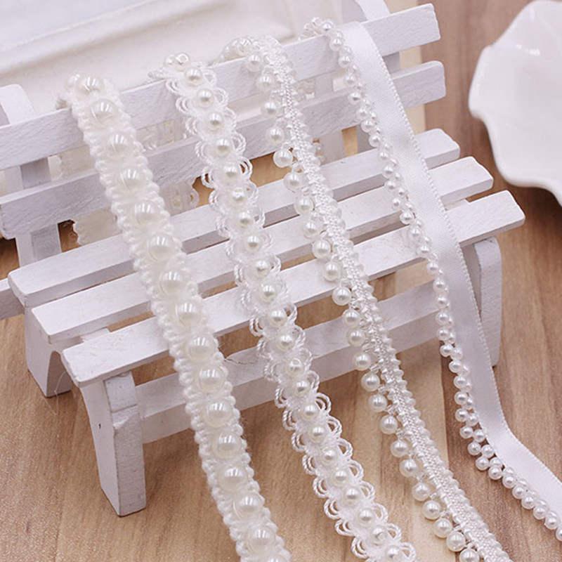 DoreenBeads белый жемчуг имитация лентой Кружева из бисера Свадебное платье юбка сумки Шапки носки аппликация 4 стиля около 0,9 м 1 шт.