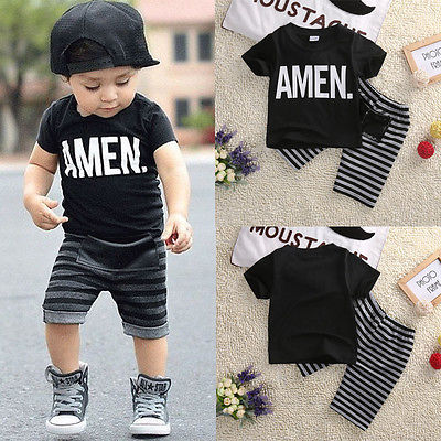 Toddler Baby Kids Boys Summer Clothes Tops T-shirt Pants Outfits Set Size Baby Boys Clothes Set Boys Clothing Set 2T-7T