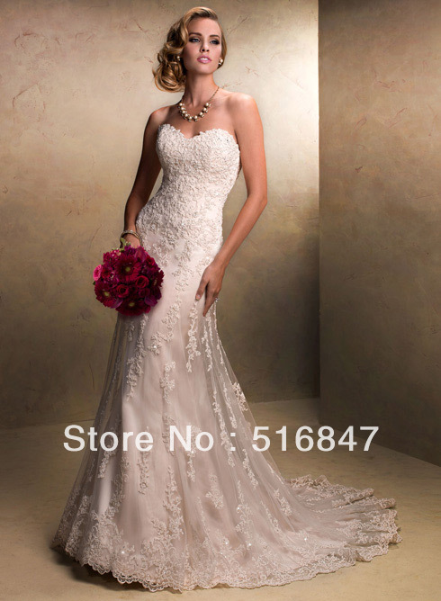 Great High Quality New White Ivory Mermaid Wedding Dresses Strapless Stock Bridal  Dresses Beads Lace Bridal Gown Vestidos De Noiva In Wedding Dresses From ...
