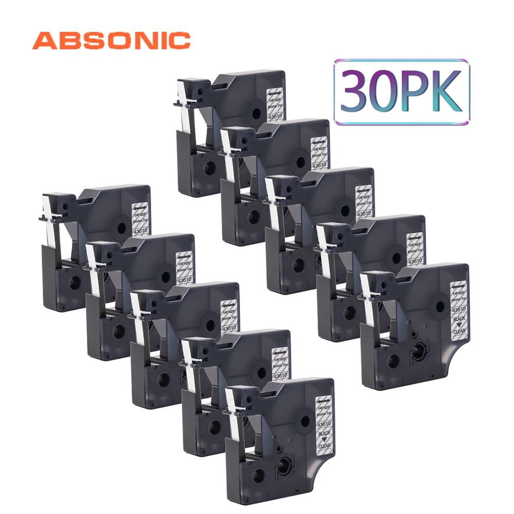 Absonic 30 pièces 6mm * 7 m Recharge Cassette Compatible Dymo D1 43610 Imprimante Ruban Noir sur Clair Étiquette Bande pour LabelManager 160 280