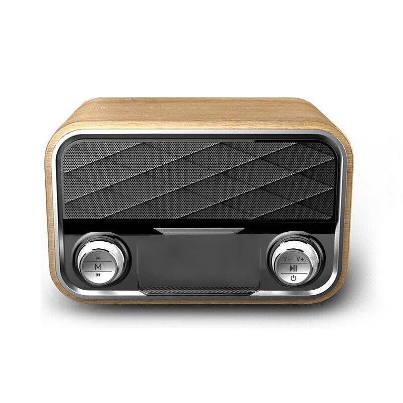 Rétro FM Radio Bluetooth haut-parleur sans fil AUX Subwoofer double haut-parleurs TF carte Support GDeals