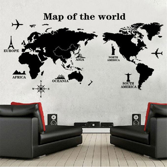 black large world map wall sticker decal 60*120cm big vinyl wall
