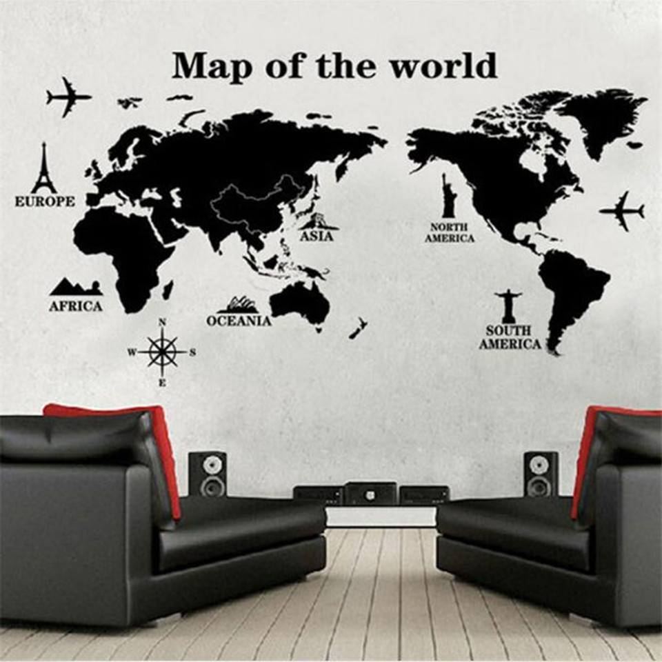 Online buy wholesale wall decal home quote from china wall decal black large world map wall sticker decal 60120cm big vinyl wall stickers home decor amipublicfo Gallery