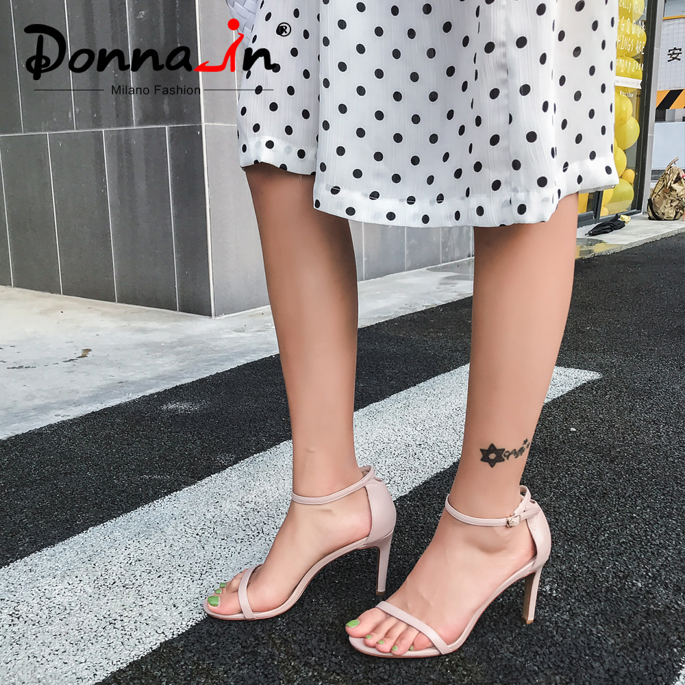 Donna in 2019 Sexy High Heels Sandals Stiletto Women Shoes Genuine Leather Open Toe Female Party