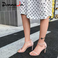Donna-in 2019 Sexy High Heels Sandals Stiletto Women Shoes Genuine Leather Open Toe Female Party Buckle Black Nude Footwear Shoe