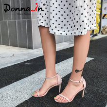 Donna-in 2019 Sexy High Heels Sandals Stiletto Women Shoes Genuine Leather Open Toe Female Party Buckle Black Nude Footwear Shoe(China)