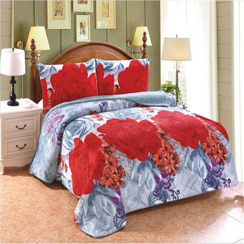 1PC blanket / 2PC pillowcase flannel compound lamb double carpet three-piece set of  Active printed multi-purpose blanket1PC blanket / 2PC pillowcase flannel compound lamb double carpet three-piece set of  Active printed multi-purpose blanket