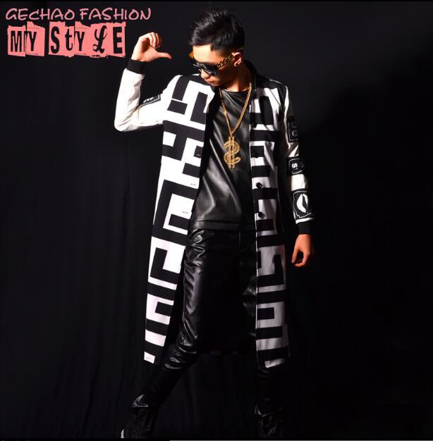 Mâle De Chanteur Blanc Long xxl Veste Discothèque Costume M Super Uniforme Noir Baseball Bar Hommes Accessoires Et FTEwSq