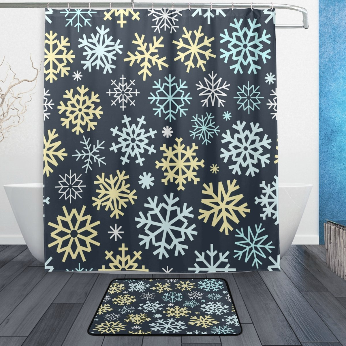 Colorful Snowflake Waterproof Polyester Fabric Shower Curtain with Hooks Doormat Bath Floor Mat Bathroom Home Decor