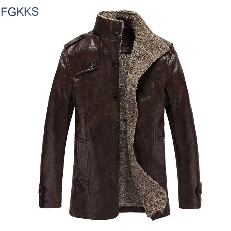 FGKKS Autumn Leather Jackets Mens PU Leather Jacket Coats Male Faux Leather Jackets Suit Collar Male Casual Overcoat